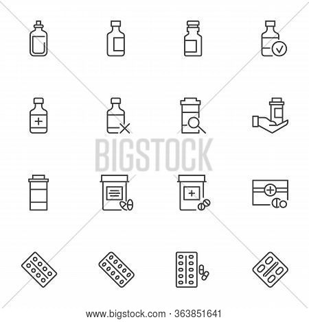 Medication Line Icons Set, Outline Vector Symbol Collection, Linear Style Pictogram Pack. Signs, Log