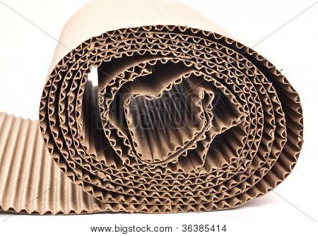 A rolled up section of corrugated cardboard