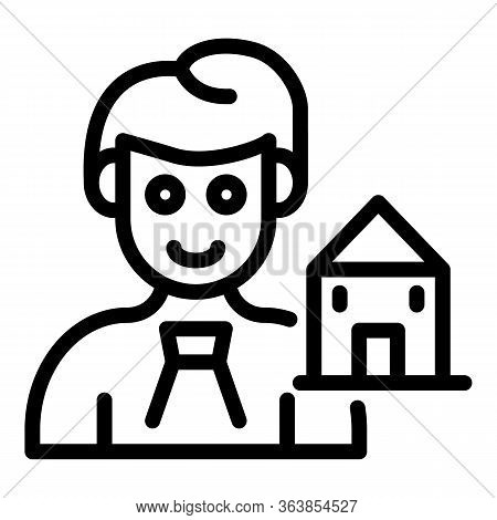 House Selling Agent Icon. Outline House Selling Agent Vector Icon For Web Design Isolated On White B