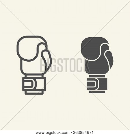 Boxing Glove Line And Solid Icon. Sport Equipment Outline Style Pictogram On Beige Background. Boxin