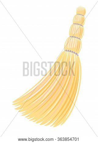 One Small Yellow Sorghum Broom In Side View Isolated Illustration, Household Implement From Dust And