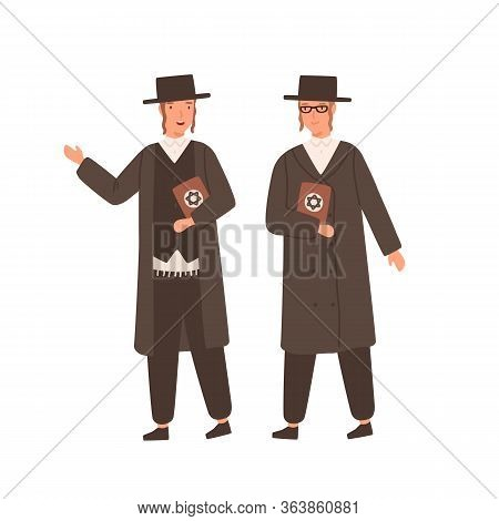 Two Orthodox Jews In Traditional Clothes And Hat Holding Hebrew Bible Or Torah Isolated On White Bac