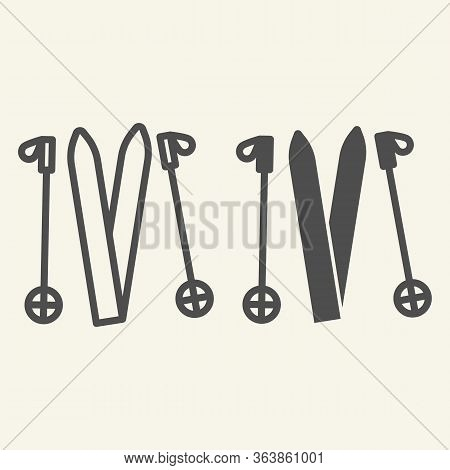 Skiing Line And Solid Icon. Ski Equipment Outline Style Pictogram On Beige Background. Skiing Gear S