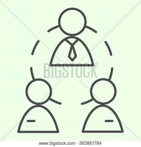 Business Team Thin Line Icon. Office Workgroup With Employees And Boss Connections Outline Style Pic