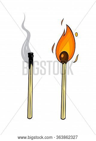 Cartoon Lighted Match And Burnt Match On White Background. Great Illustration For Your Design.