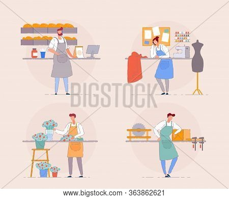 Small Business Owner. Cartoon Portrait Of Business Owner On Workplace. Florist In Flower Shop, Baker