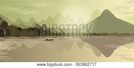 Mountain Landscape In Green And Beige Tones. Mountains, Hills, Forest, Mountain Lake Or River, A Lon