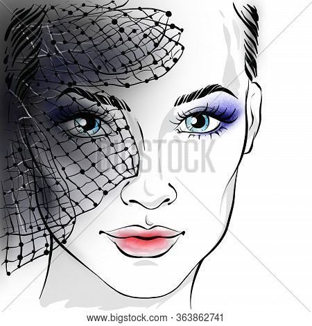 Portrait Of A Beautiful Woman With A Veil. Veil On The Face. Beautiful Girl With A Veil. Raster Illu