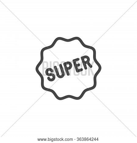 Super Icon In Thin Line Style. Graphic Symbol For Advertising, Promo, E-commerce, Sticker For Messen