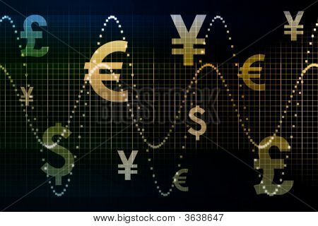 Blue Gold World Currencies Business Abstract Background Wallpaper poster