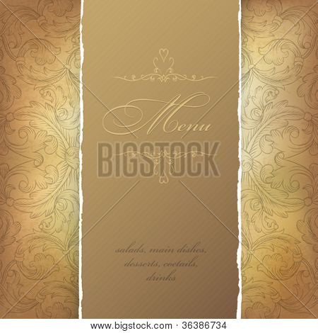 Aged menu template. Vector illustration, EPS10