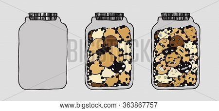 Sequence Of Jar Of Cookies From Full To Empty. Cartoon Cute Doodles Dessert. Hand Drawn Line Art Fra