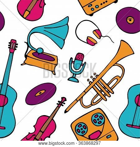 Musical Pattern. Hand-drawn Musical Instruments Icons. Bright Seamless Texture For Wallpaper Or Fabr