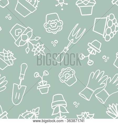 Vector Hand Drawn Garden Accessories Lineart On Green Seamless Pattern Background.