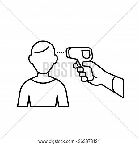 Human Body Non-contact Infrared Ir Temperature Fever Check Gun In Hand With Man Outline Simple Icon
