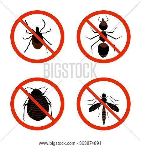 Harmful Insects Set Icon Isolated On White Background. Collection Of Red Warning Signs And Symbols W