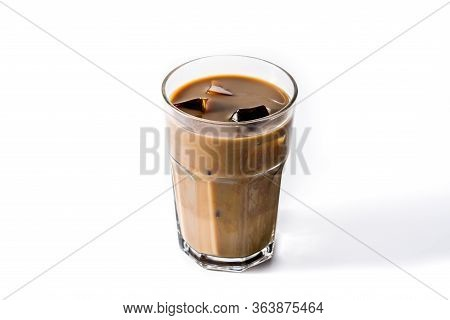 Iced Coffee Or Caffe Latte In Tall Glass Isolated On White Background