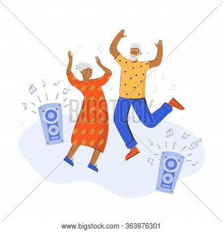 An Elderly Couple Dancing At Home. Old Man And Woman Are Having Fun. Spending Time At Home. Elderly