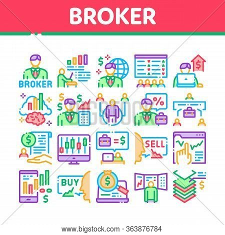 Broker Advice Business Collection Icons Set Vector. Broker Businessman And Consultant, Sell And Buy,