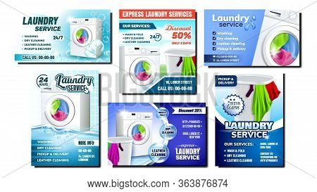 Laundry Services Advertising Posters Set Vector. Collection Of Different Promo Banners Flyers With L