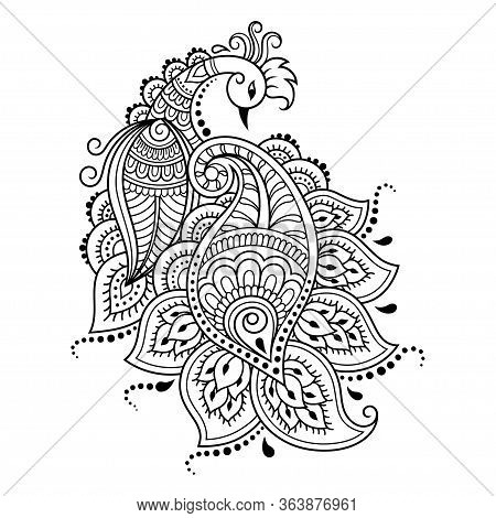 Mehndi Flower Pattern With Peacock For Henna Drawing And Tattoo. Decoration In Ethnic Oriental, Indi