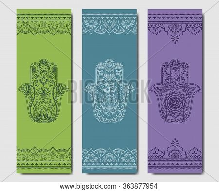 Set Of Design Yoga Mats. Hamsa Pattern In Oriental Style For Decoration Sport Equipment. Colorful Et