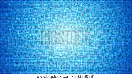 Swimming Pool With Bottom Caustics Ripple Vector. Pool Flow With Waves Top View. Texture Of Clean Wa