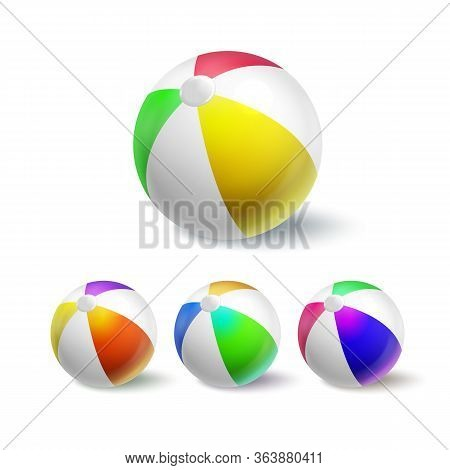 Inflatable Ball For Playing In Pool Set Vector. Collection Of Multicolored Ball, Sportive Equipment
