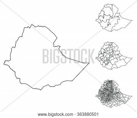 Ethiopia Outline Map Vector With Administrative Borders, Regions, Municipalities, Departments In Bla