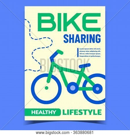 Bike Sharing Service Advertising Banner Vector. Alternative Rent Bicycle Share Station Service. City