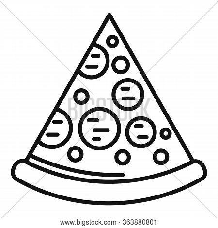 Mozzarella Pizza Slice Icon. Outline Mozzarella Pizza Slice Vector Icon For Web Design Isolated On W