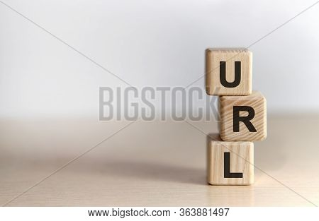 Url - Concept On Vertical Wooden Cubes On A White Background
