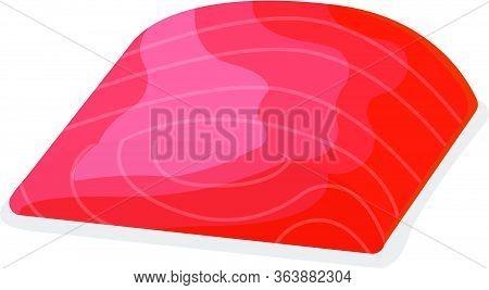 Piece Fish Tuna Salmon, Fresh Minnow Steak Tenderloin Isolated On White, Cartoon Vector Illustration