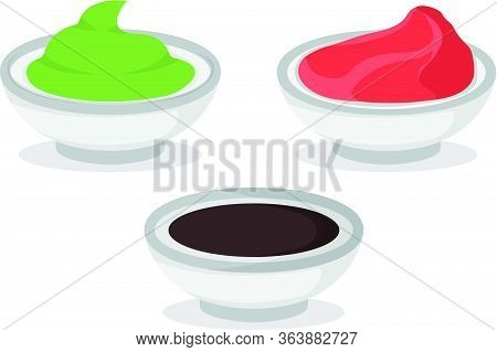 Set Of Wasabi Soy Sauce And Ginger Isolated On White, Cartoon Vector Illustration. Bowl For Asian Ja
