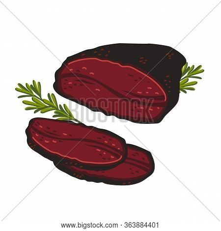 Pastrami. Meat Delicatessen On White Background. Slices Of Italian Smoked Beef. Simple Flat Style Ve