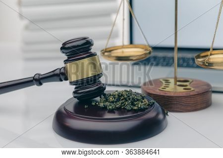 Wooden Judge Hammer With Sound Block On The Black Mirror Background - Legality Of Cannabis, Legal An
