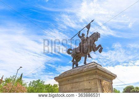 Seville, Andalusia, Spain - April 18, 2016: Closeup Of Monument To El Cid Campeador Sculpture, An Ou