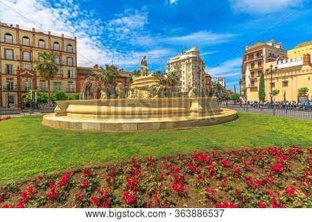 Seville, Andalusia, Spain - April 18, 2016: Landscape Of Fountain Of Puerta De Jerez Or Jerez Gate S
