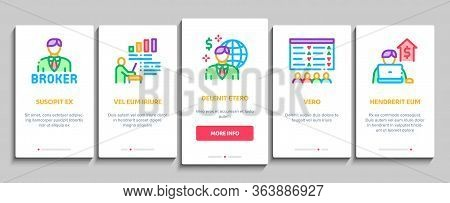 Broker Advice Business Onboarding Mobile App Page Screen Vector. Broker Businessman And Consultant,