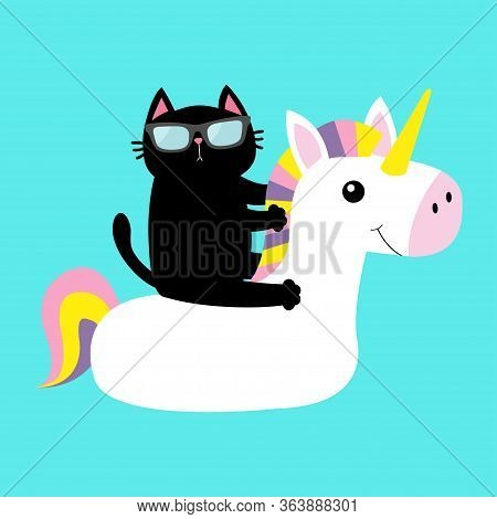 Black Cat Floating On White Unicorn Pool Float Water Circle Icon. Swimming Pool Water. Sunglasses. L