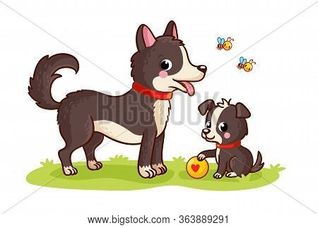 Dog And Puppy Play Ball In A Green Meadow. Mom And Baby. Vector Illustration With Cute Pets