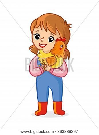 The Farmer Girl On A White Background Holds A Chicken In Her Hands And Smiles. Vector Illustration W