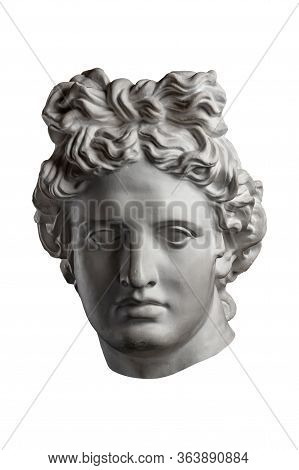 White Gypsum Copy Of Ancient Statue Of Apollo God Of Sun Head For Artists On A White Background. Pla