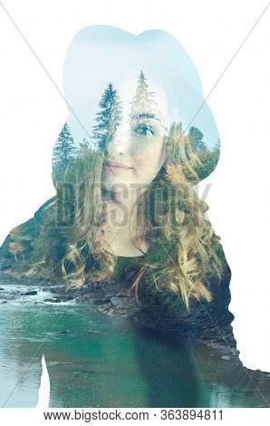 Double Exposure Of Beautiful Woman And Green Wood Nature Forest River.
