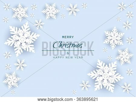 Merry christmas and happy new year snowflakes on white background. Winter season, merry christmas, new year, happy holiday card background. Snowflake template graphic design Merry christmas and happy new year. Merry christmas greeting card vector backgrou