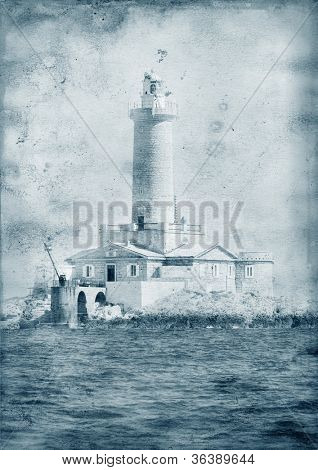Old Lighthouse - Retro style highly detailed grunge abstract textured collage