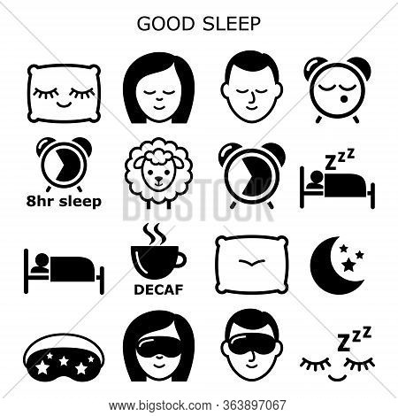 Good Sleep Hygiene, Healthy Sleep Vector Icons People Sleeping At Night Design - Health And Lifestyl