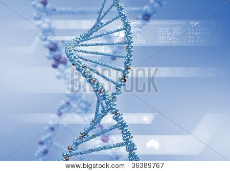 Image of DNA strand against colour background