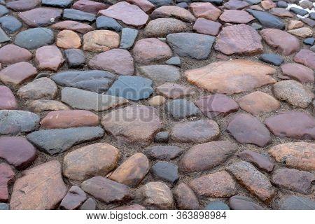 Cobblestone Road. Multicolored Cobblestone Texture. Modern Road.