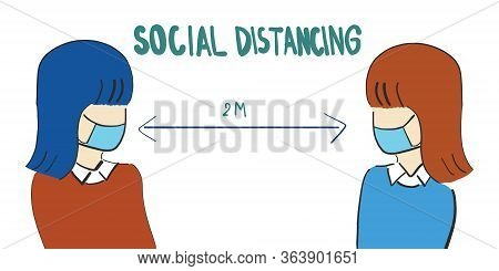 Social Distancing, Two Women Wearing A Surgical Mask, Two Meters Apart, Woman Keep Distance In Publi